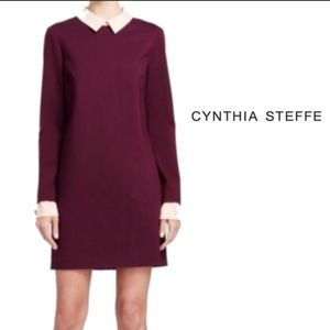 "Cynthia Steffe ""Alabama"" Ponte Knit dress Maroon"
